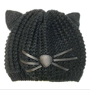 Knitted kitty cat beanie hat